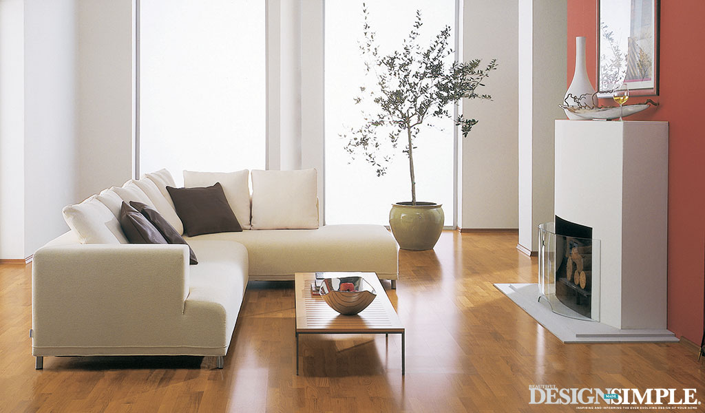 Living Room with Honey Hardwood Floors from Carpet One